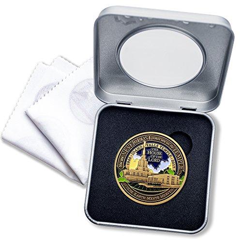 - LDS Idaho Falls Temple Medallion with Deluxe Display Tin Box and bonus polishing cloth