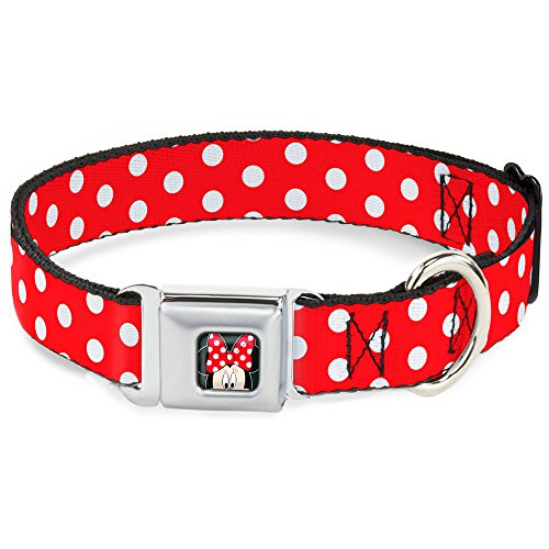 Buckle-Down Seatbelt Buckle Dog Collar - Minnie Mouse Polka Dots Red/White - 1
