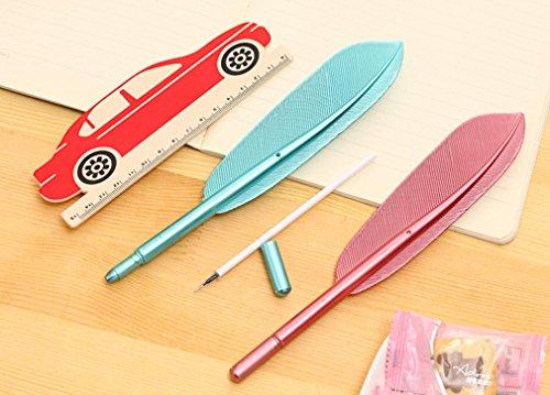 VESNIBA Unique Rollerball Pen, 4PCS Cute Wing Feather Ballpoint Ink Pens Gel Pens Creative Stationery Student Gift (A-4PCS Wing Feather) by VESNIBA (Image #5)