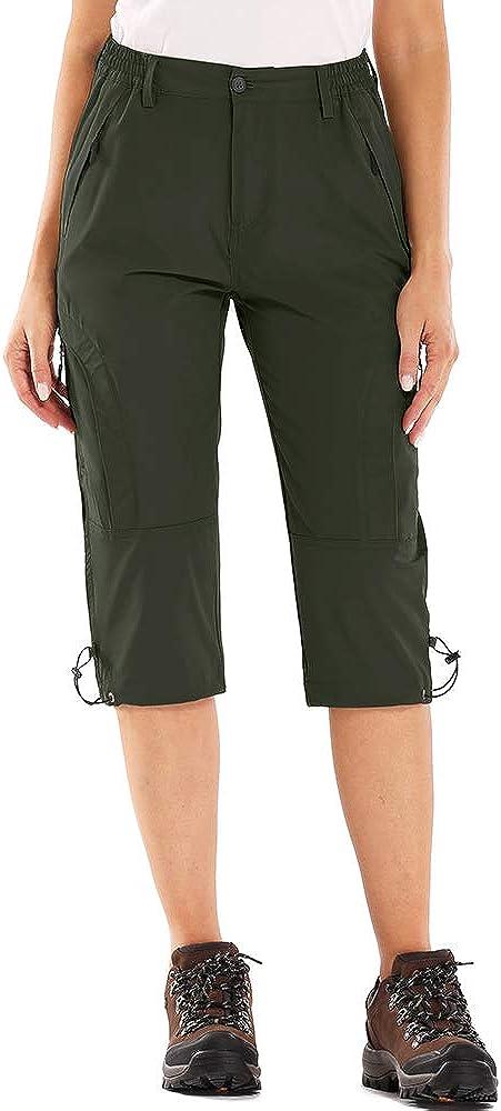 linlon Womens Quick Dry Cargo Shorts,Outdoor Casual Straight Leg Capri Long Shorts for Hiking Camping Travel