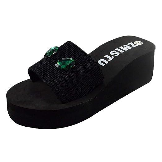 4aeddcc4a Moonker Girls Women Summer Fashion Flat Slides Slippers Ladies Pearl Drill  Beach Flip Flops Sandals Shoes