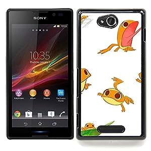 - Frog White Cute Kids Funny Character/ Duro Snap en el tel????fono celular de la cubierta - Cao - For Sony Xperia C S39h C2305