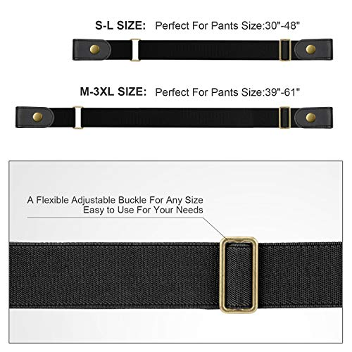 No Buckle Stretch No Show Belt for Men 1.38 inches Wide, Buckless Invisible Elastic Belt for Jeans Pants by WHIPPY Small