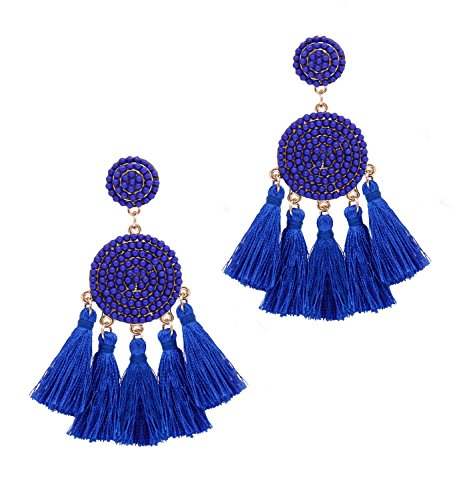 XOCARTIGE Tassel Earrings Thread Fringe Chandelier Drop Dangle Earrings Bohemia Beaded Disc Stud Earring for Women Girls ()