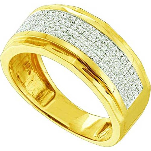 0.35 Carat (ctw) 10k Yellow Gold Round White Diamond Men's Hip Hop Micro Pave Wedding Anniversary Band by DazzlingRock Collection