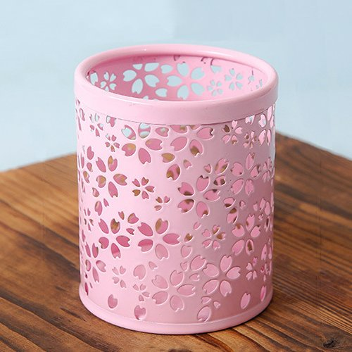 (SPHTOEO Hollow Sakura Cherry Blossoms Flower Pattern Cylinder Pen Pencil Pot Holder Container Organizer (Pink))