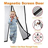ScreenDoorYET Magnetic Screen Door Mesh Curtain - Full Frame Velcro Fits Door Up To 34 x 82-Inch