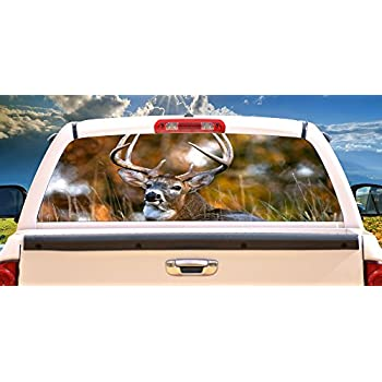 Deer 2 rear window graphic back truck decal suv view thru vinyl car