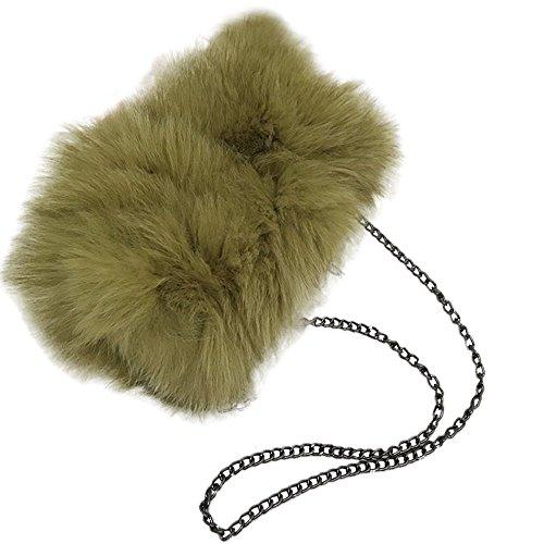 Real Purse Womens' Moss Evening Handbag He Fur Green Lady Bag Shoulder Feather Fluffy Yu clutch qFEfWvv