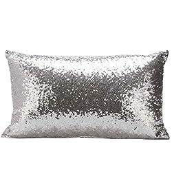 VIASA Sequins Sofa Bed Home Decoration Festival Pillow Case Cushion Cover (Silver)