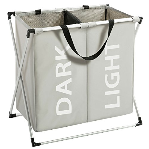 Marble Field Laundry Hampers X-Frame Double Laundry Basket 2 Section Oxford Dirty Laundry Hamper Sorter Aluminum Frame Foldable Waterproof Bags with Handles Light Grey