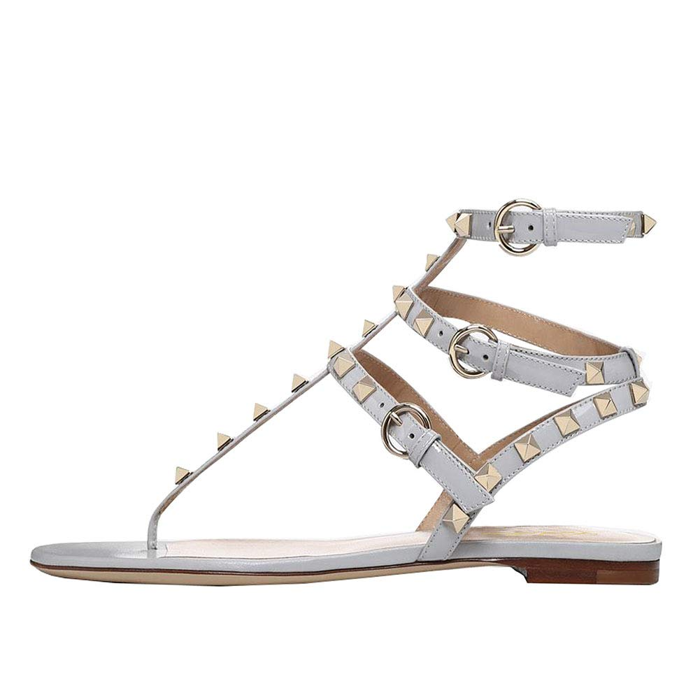 Grau Lutalica Damenmode T-Strap Besetzt Casual Komfort Sommer Flache Sandalen Schuhe