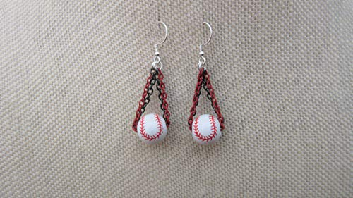 (Arizona Diamondbacks MLB Ceramic Inspired Baseball Earrings Two Color Strands Sterling Silver Ear Wires)