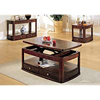 Coaster End Table with 1-Drawer, Dark Cherry
