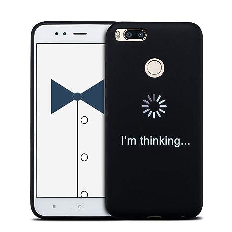MOSORIS Funda Xiaomi MI A1, Carcasa Pattern Suave Negro Silicona Matte Caso Parachoques Tapa Case Delgado Flexibilidad Protectora Shell Espalda ...