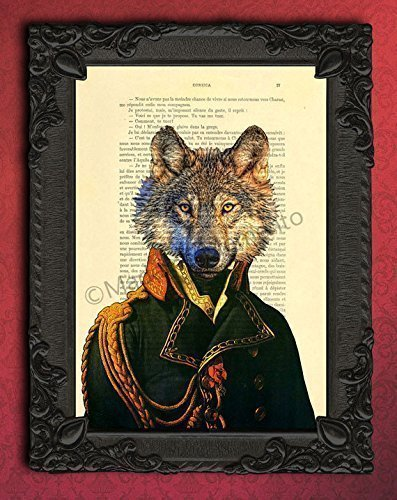 Dressed wolf artwork, lieutenant animal art print for wall hanging, dog portrait decorations on upcycled paper