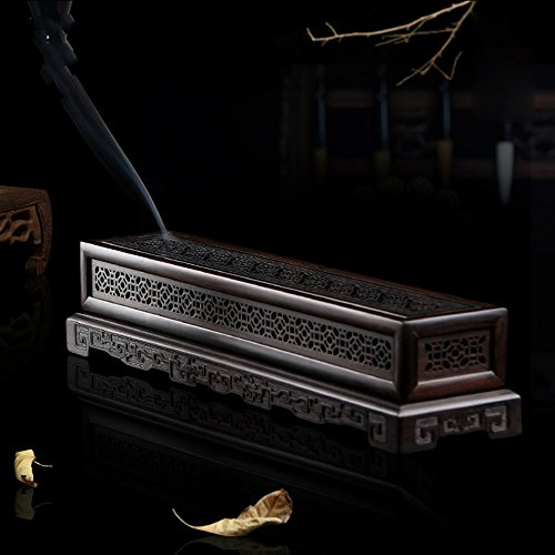 Wood Incense Box Burner - Rosewood Ebony Wood Incense Burner Holder Coffin Incense Burner Box Incense Stick Holder