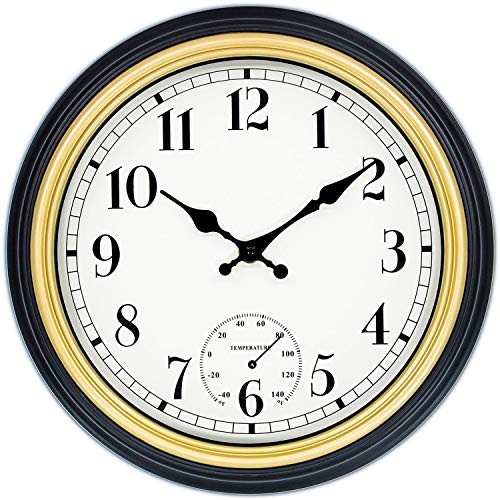 45Min 12 Inch Retro Wall Clock with Thermometer, Silent Non Ticking Round Home Decor Wall Clock with Arabic Numerals(Silver)     ()