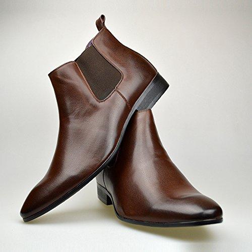 in stile Marrone Stivali nera pelle eleganti Chelsea uomo da misure marrone 46 casual stivaletti 41 rnX8xXqO