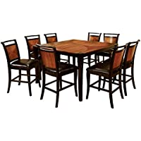 Furniture of America Sahrifa 9-Piece Duotone Counter Height Table Set, Acacia and Black Finish