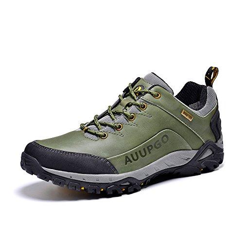 Auupgo Mens Au-tex Scarpe Da Trekking Multifunzionali Impermeabili Da Trekking Scarpe Da Trekking Verde Militare