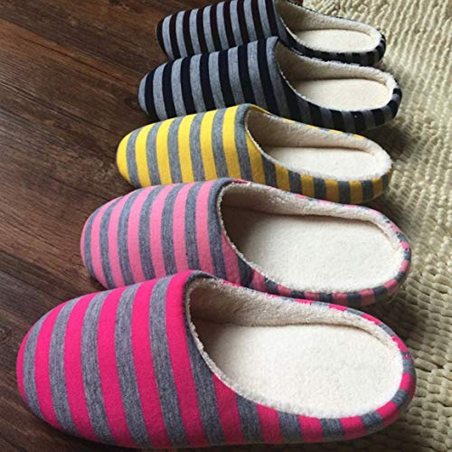 Pantofole Donna Morbido Interno per Colore casa a Funnyrunstore Peluche Antiscivolo 36 per Coppia Misura Giallo Universale Scarpe da Caldo Stoffa da Amanti Uomo Inverno Pantofole 37 della Giallo; Righe E8wIP