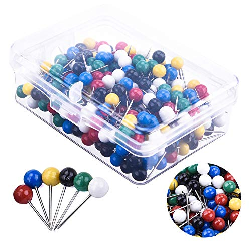 400 PCS Map Tacks Push Pins Glass Ball Head Pins, Steeless Point, 5mm Head, 6 Different Color, Using for for Corkboard Bulletin Board and Fabric Making, Fixing Pictures Paper
