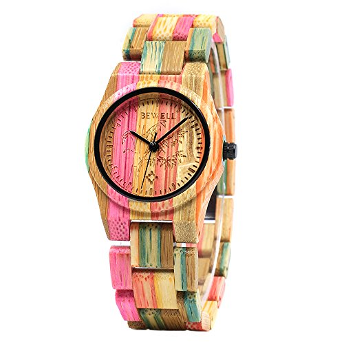 Bewell Colorful Bamboo Wrist Watch,Handmade Gift for Women,Girl, Student,Quartz Lightweight Watch with Adjustbale Watchband by BEWELL