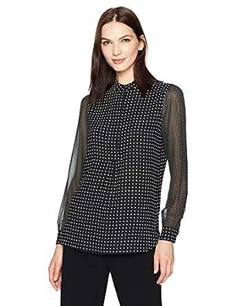e328eb7eb2f90 Anne Klein Women s Dot Print Long Sleeve Blouse at Amazon Women s ...