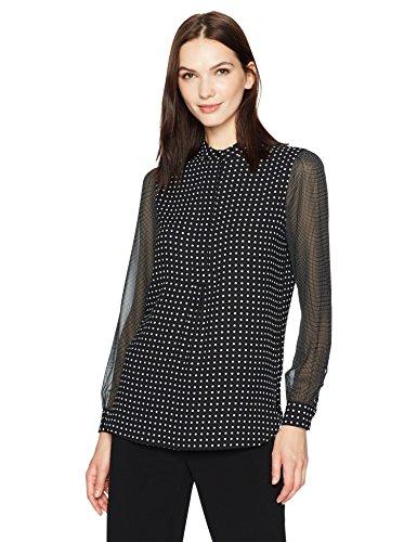Anne Klein Women's Dot Print Long Sleeve Blouse, Black/White, S
