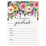 Digibuddha Graduation Party Invitations with Envelopes (Pack of 50) Beautiful Fill-in Floral Grad Party Invites Excellent Value Invitations VI0041