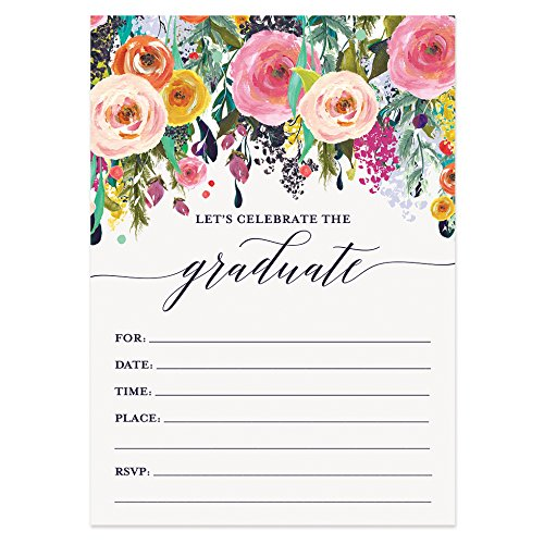 Floral Fill-In Graduation Invitations (Set of 50)