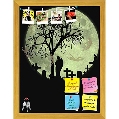 Artzfolio Halloween Scene Printed Bulletin Board Notice Pin Board   Golden Frame 16 X 21Inch]()