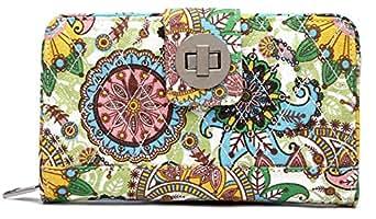 Malirona Women's Canvas Wallet Bohemian Style Purse Clutch Bag Multi Card Case Wallet with Zipper Pocket - - One Size