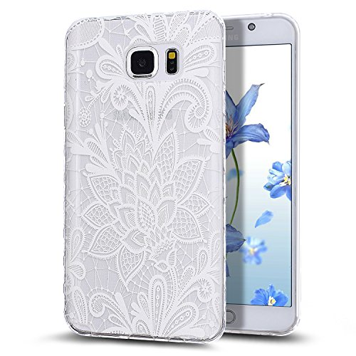 Galaxy Note 5 Case,NSSTAR Scratch-Proof Ultra Thin Crystal Clear Rubber Gel Transparent TPU Soft Silicone Bumper Case with Shockproof Protective Case for Samsung Galaxy Note 5 N920,White Lace Flower