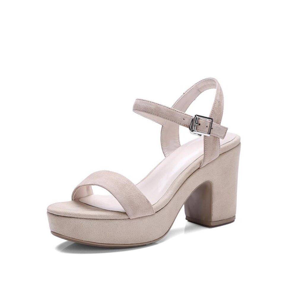 Damenschuhe 2018 Neue Damen Sandalen wasserdicht Plattform Leder Damenschuhe einfache Schnalle europäischen und amerikanischen Wilden Mode Coole Hausschuhe Damen Schuhe (Farbe   Beige Größe   38)