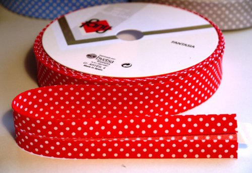 3M Red Polka Dot Bias Binding Tape 25mm. Useful in many sewing, bunting and craft projects. (Cut from roll) The Little Button Shop