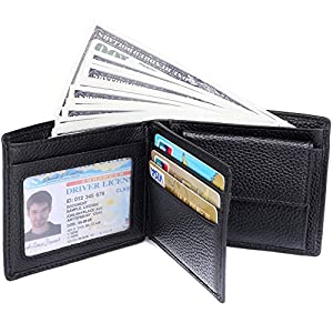 RFID Blocking Wallet for Men - Genuine Leather Bifold Wallet With Coin Pocket