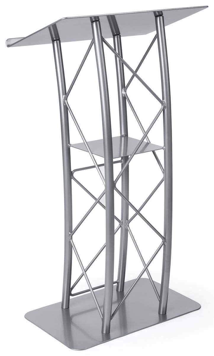 Displays2go Silver Aluminum and Steel Truss Lectern with Curved Design and Built-In Shelf, 47-Inch Tall (LCTTACSL) by Displays2go