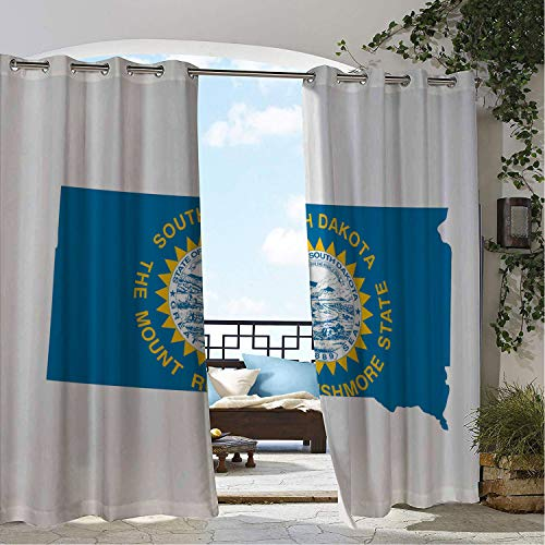 (Patio Waterproof Curtain South Dakota Mount Rushmore State Map Waving Flag Great Seal Surrounded Sun Blue Earth Yellow Porch Grommets Decor Curtains 96 by 72)