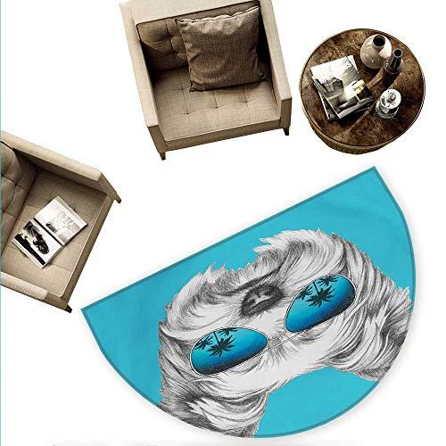 Yorkie Half Round Door mats Yorkshire Terrier Portrait with Cool Mirror Sunglasses Hand Drawn Cute Animal Art Bathroom Mat H 63