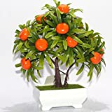 REDJCK Artificial Trees Flower Bonsai Tree Creative Mini Fake Plants For Home Office Decor (Orange)