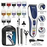 Wahl Color Pro Cordless Rechargeable Hair Clipper 21 Piece Color Coded Hair Cutting With 12 Guide Combs And Soft Storage Case