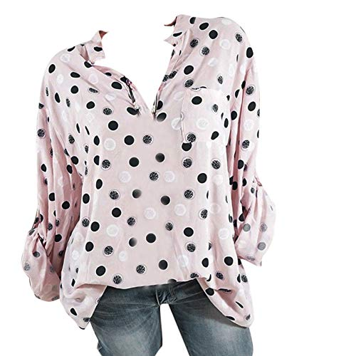 Taille Col Manches Plus Plus Longues Point Femmes d'onde Chemisiers Taille Autumne LaChe Montant Impression Innerternet Rose Blouse 5xnzZYUY