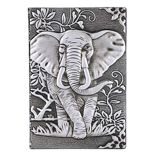 Embossed Mini Portfolio (Elephant Embossed Notebook Journals Classic Diary Ruled Note Writing Page Business Vintage Office Hardcover A5 Silver Notepad)