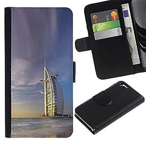 NEECELL GIFT forCITY // Billetera de cuero Caso Cubierta de protección Carcasa / Leather Wallet Case for Apple Iphone 5 / 5S // Burj Dubai