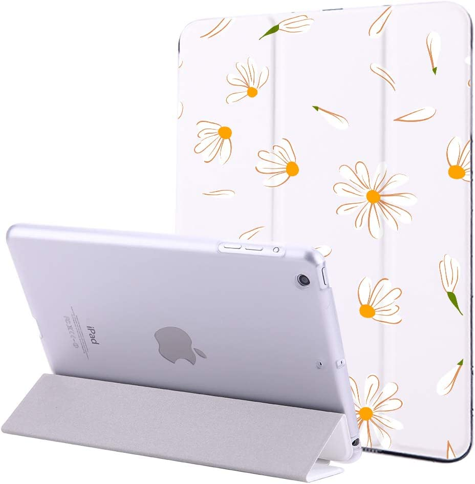 JOYLAND Pad Case Cover for IPad Air 2 Case Daisy Flower Slim Lightweight Smart Trifold Stand Cover Magnetic Auto Wake&Sleep Function iPad 9.7 inch 2017/2018 White Cover for iPad 5th/6th Generation