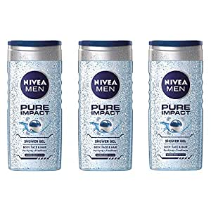 NIVEA Men Pure Impact Shower Gel, 3 x 250 ml