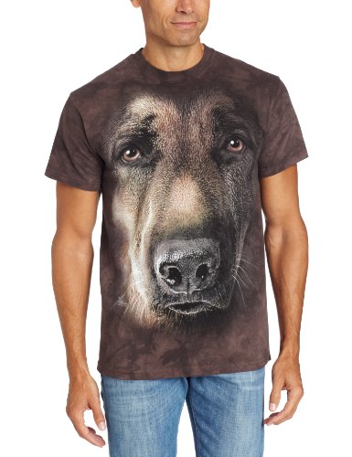 The Mountain German Shepherd Portrait T-Shirt, 3X-Large, Gray (German Shepherd Portrait)