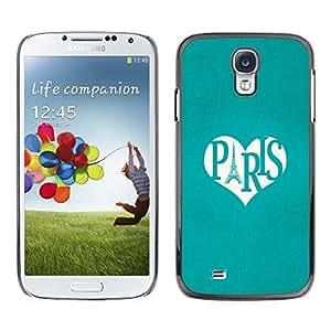 Caucho caso de Shell duro de la cubierta de accesorios de protección BY RAYDREAMMM - Samsung Galaxy S4 I9500 - Eifel Tower Love Heart Travel France